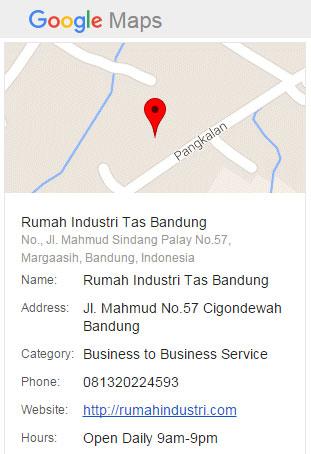 Google Map Rumah Industri Tas Bandung